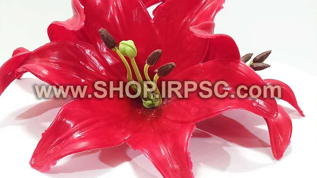 سرگل مصنوعی اورینتال قرمز چرمی   گل اورینتال   گل مصنوعی قرمز چرمی فروش عمده
