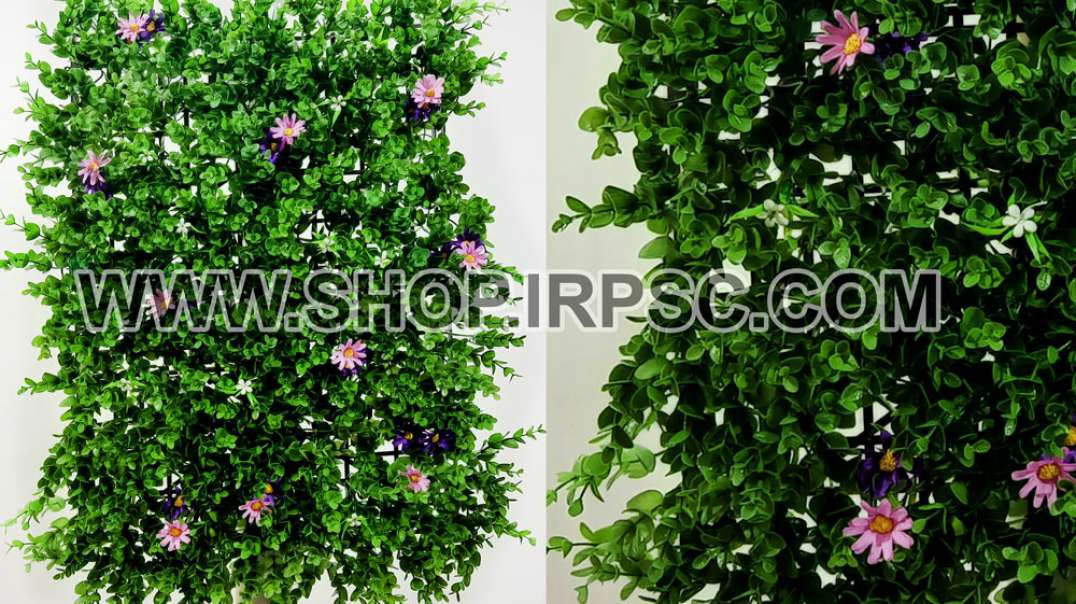 پنل دیوار سبز مصنوعی گلدار   پنل برای دیوار مصنوعی