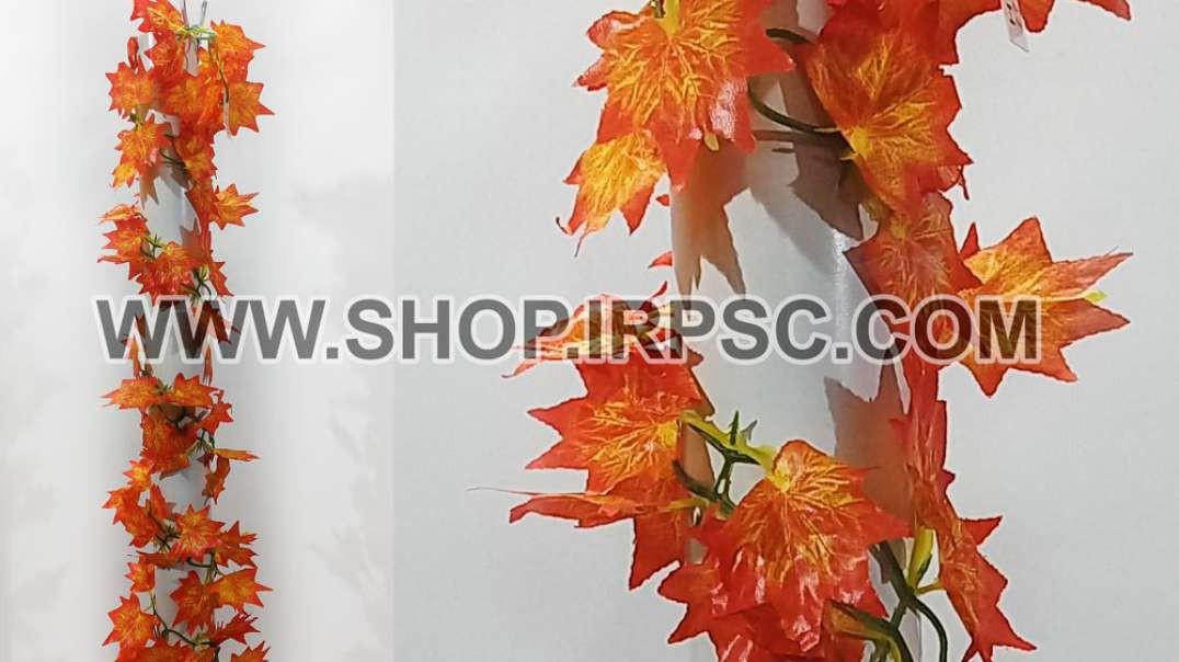 ریسه برگ پاییزی برگ بزرگ | گل آویز مصنوعی پاییزی | پیچک نارنجی مصنوعی