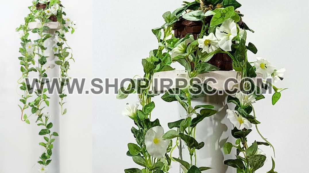 گل آویز شیپوری مینیاتور سفید   ریسه شیپوری   پیچک سفید مصنوعی