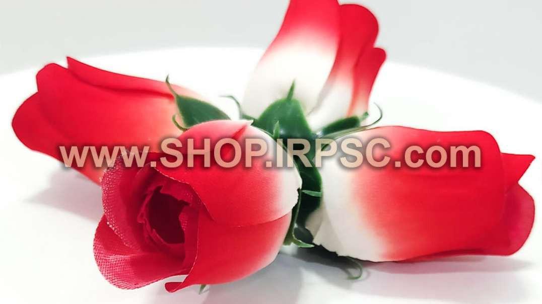 سرگل مصنوعی غنچه رز سفید قرمز مخمل مصنوعی   غنچه رز سفید قرمز   گل مصنوعی مخمل پخش عمده