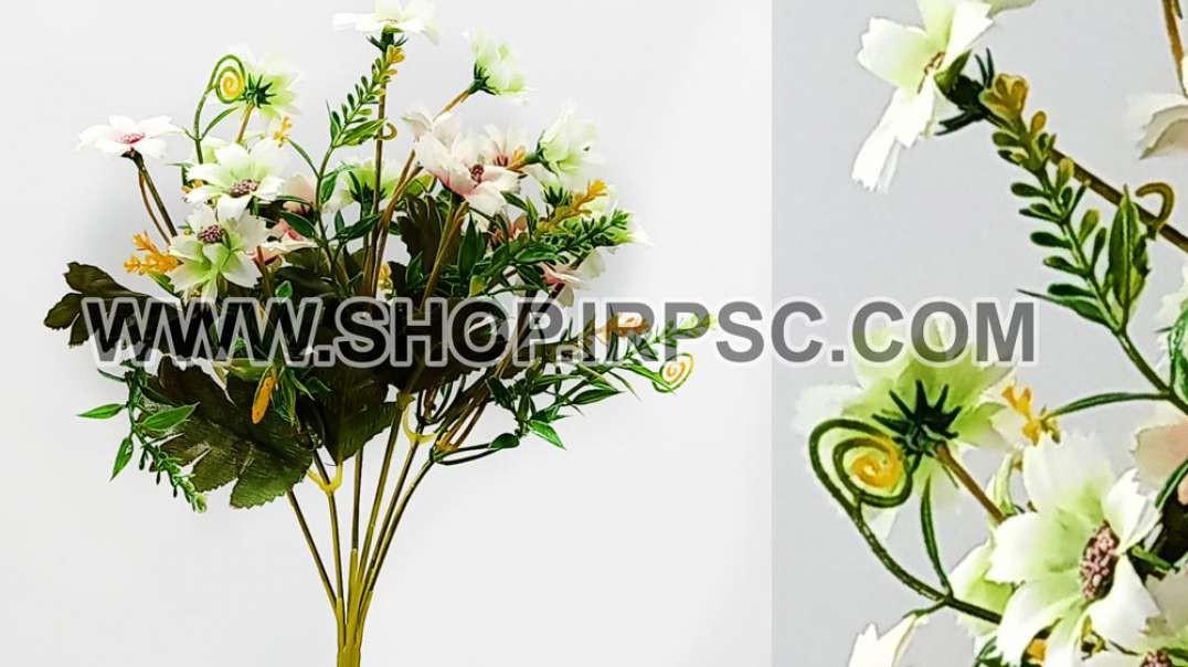 بابونه مصنوعی سفید صورتی | بوته گلدار سفید صورتی | گل بابونه