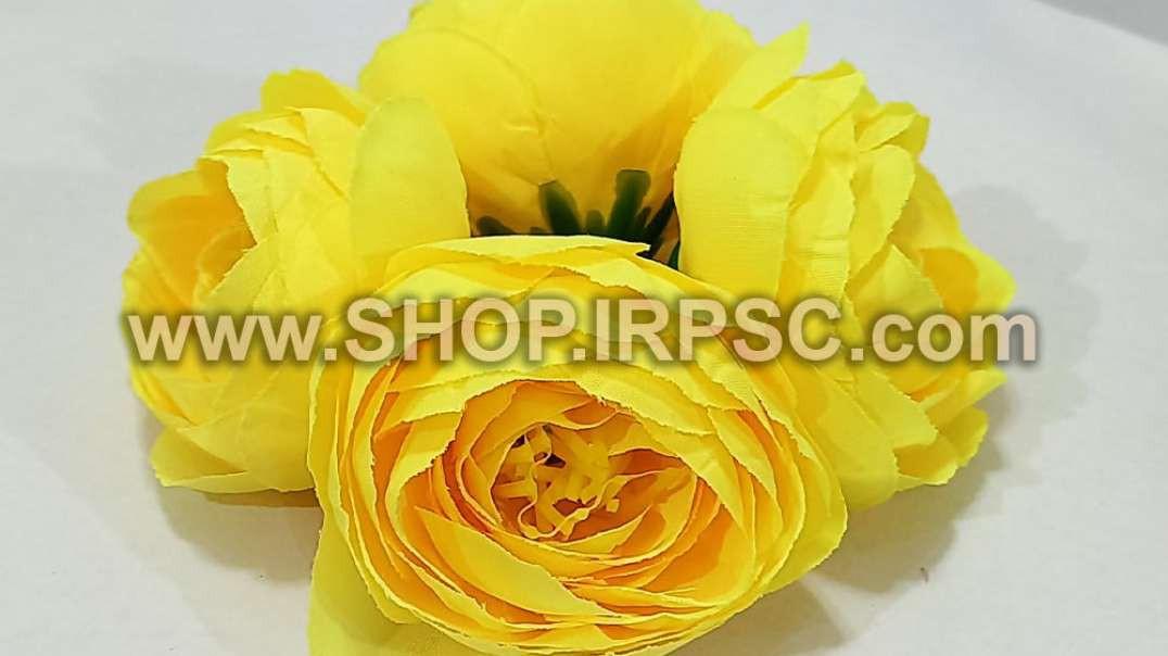 سرگل پیونی مصنوعی بزرگ زرد | گل پیونی زرد | گل مصنوعی