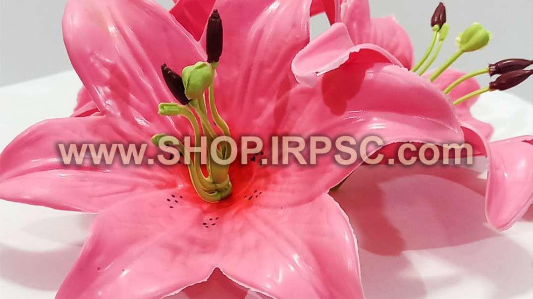 سرگل مصنوعی اورینتال چرمی صورتی   گل اورینتال   گل مصنوعی چرمی فروش عمده