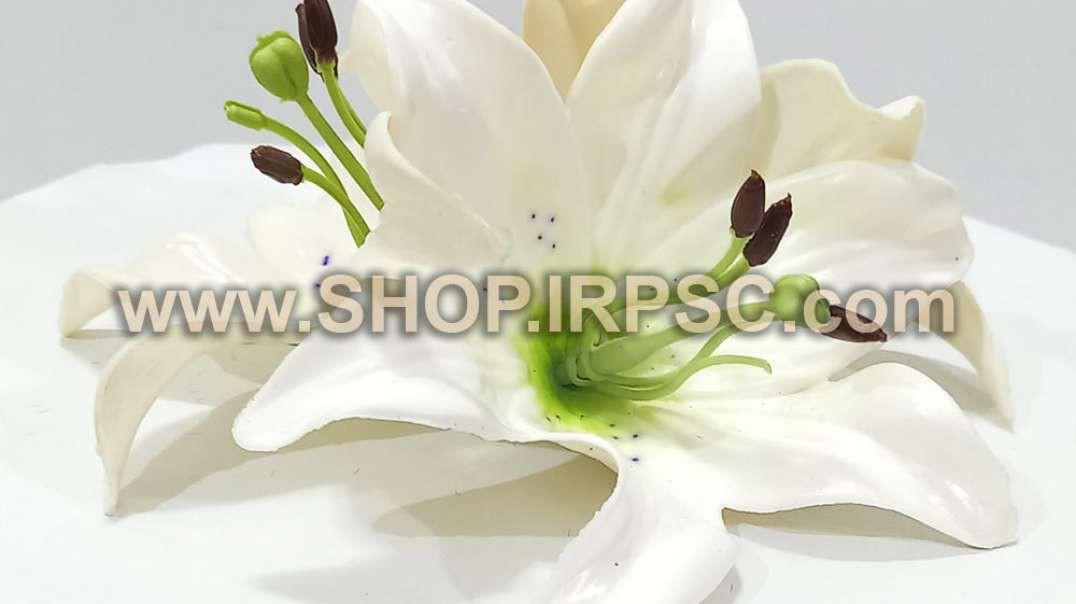 سرگل مصنوعی اورینتال سفید چرمی   گل اورینتال   گل مصنوعی سفید چرمی فروش عمده